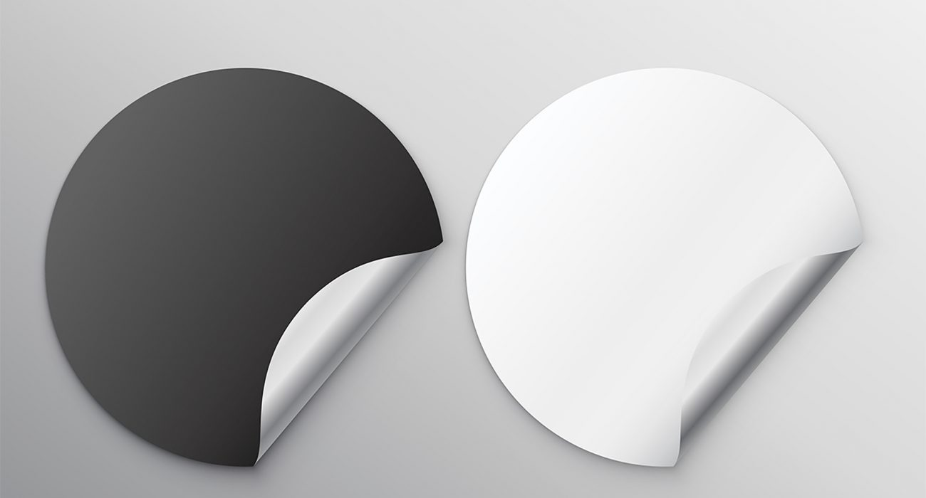 black and white blank stickers with curl