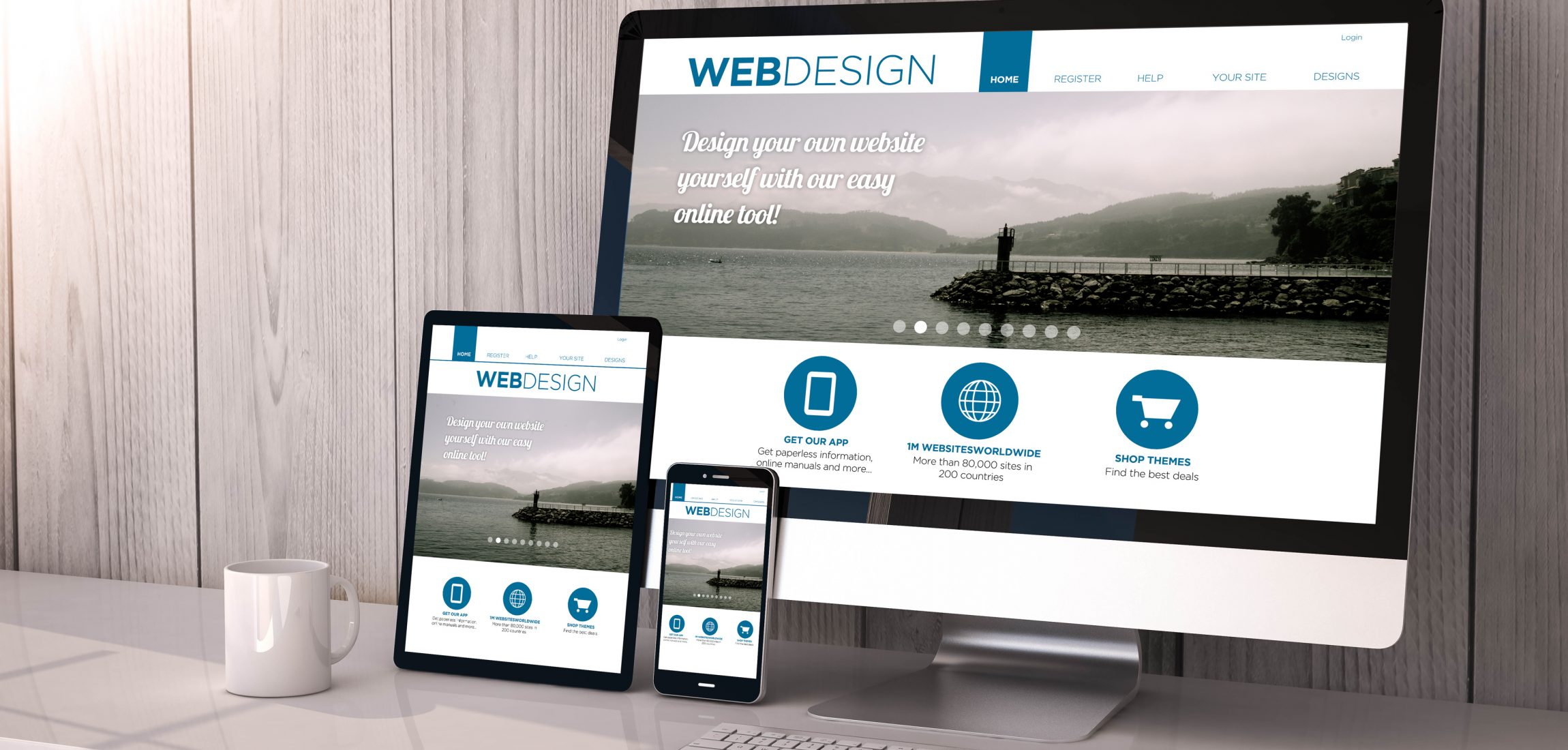 Digital generated devices on desktop, responsive blank mock-up with web design fluid template website  on screen. All screen graphics are made up.